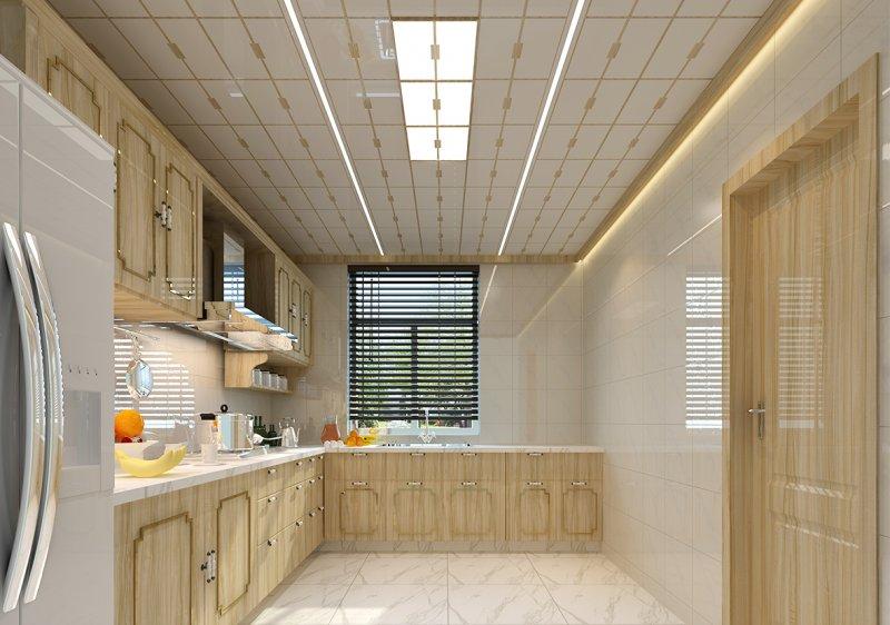 武峰新中式风格厨房集成吊顶装修效果图