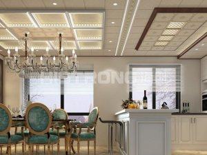 海创欧式风格餐厅吊顶装修效果图 奢华大气