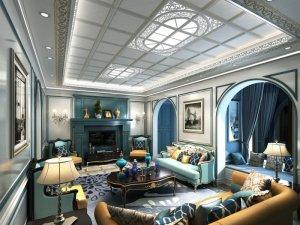 奥普美式风格客厅集成吊顶装修效果图