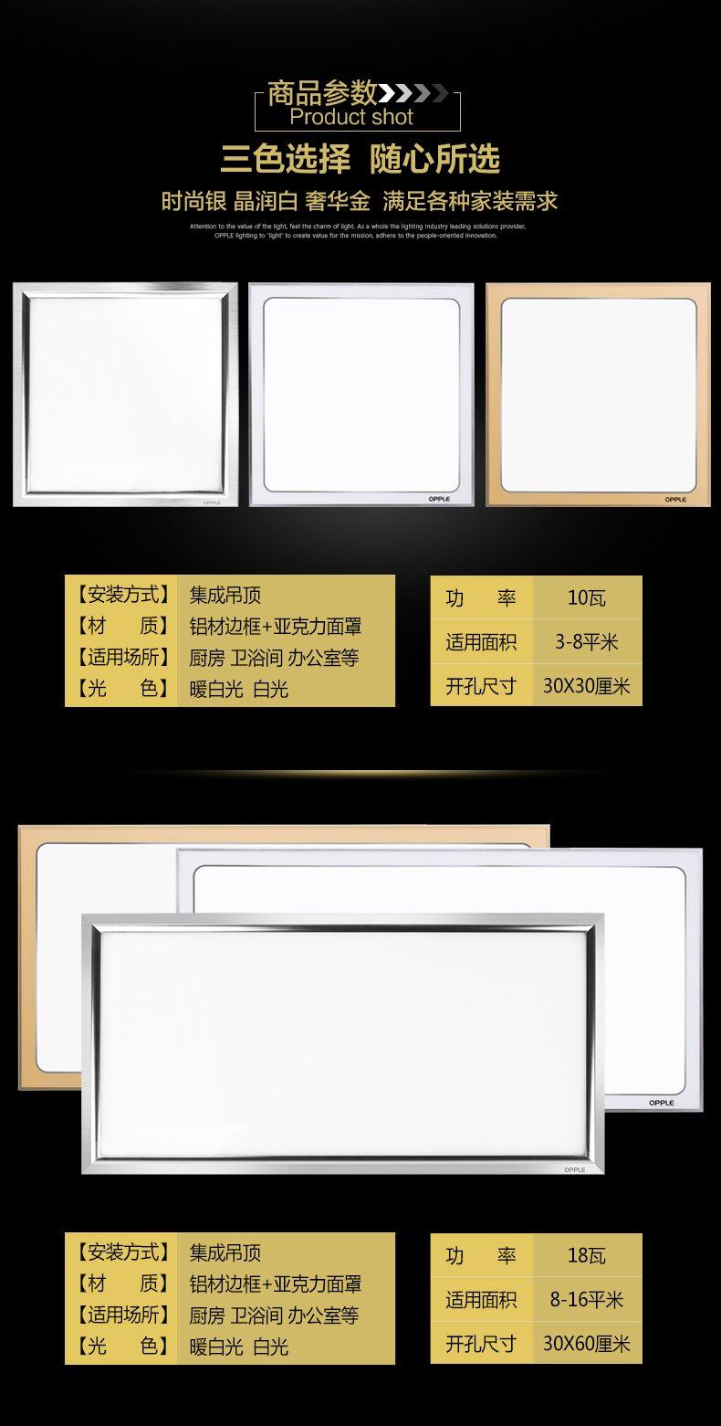 欧普照明集成吊顶板灯天花铝扣面板厨房卫生间嵌入式_13