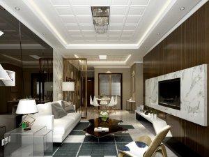 奥普现代简约风格客厅集成吊顶装修效果图