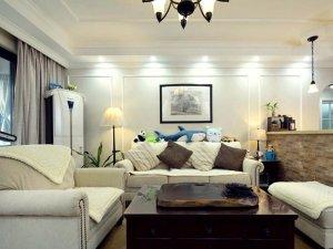 美式风格集成墙面装修效果图 客厅白色集成墙面图片