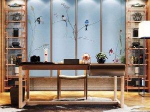 布来美墙布图片 中式风格书房背景墙装修效果图