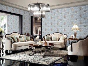 墙夫人墙布图片 新中式风格提花墙布装修效果图