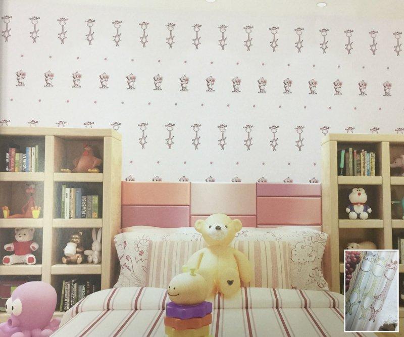 素江南墙布图片 25号儿童房绣花墙布装修效果图