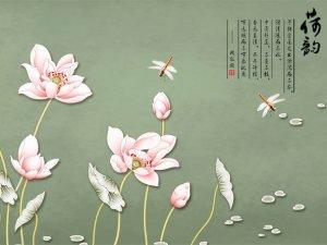 锦尚帛美墙布图片 中式风格荷花图案墙布产品展示