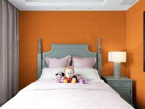 汇明提花墙布橘色珍品产品及装修效果图