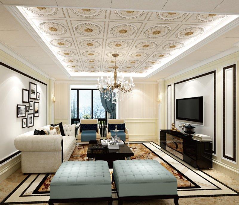 海创集成墙面加盟产品 520风格客厅吊顶效果图