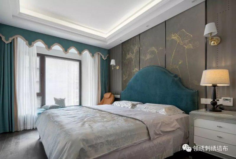领绣刺绣墙布《蓬荜生辉9》 中式风格墙布装修效果图
