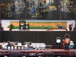 领绣刺绣墙布《高堂茶实》新中式风格墙画装修效果图