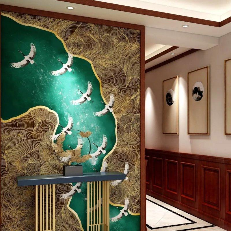 科布斯无缝墙布《碧海仙鹤》新中式风格墙布装修效果图