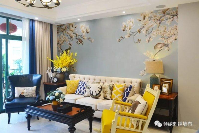 领绣刺绣墙布《蓬莱清韵》 新中式风格墙布装修效果图