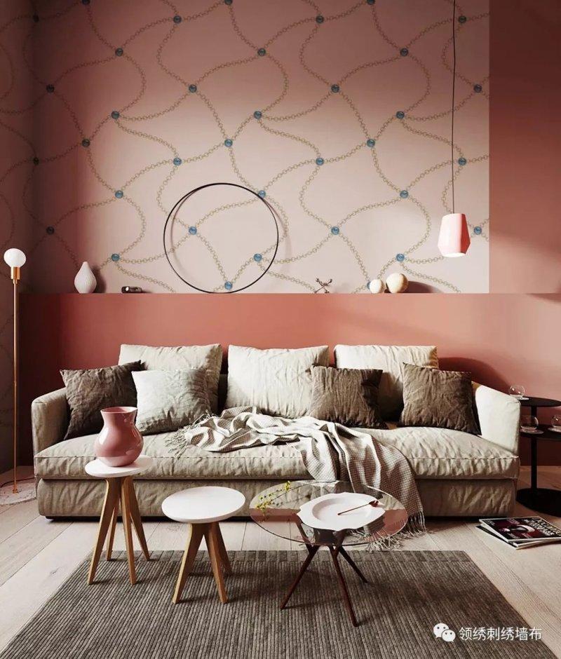 领绣刺绣墙布《绘彩9》 粉色墙布装修效果图