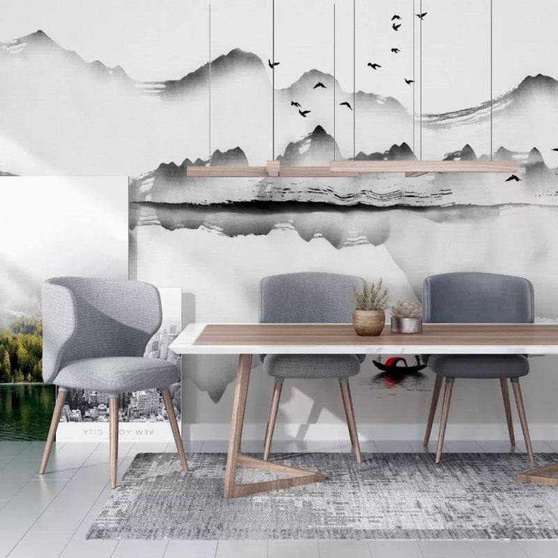 布鲁斯特墙纸加盟产品 新中式风格墙纸装修效果图