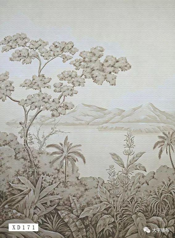 大宇墙布宫廷系列 手绘风格墙布装修效果图