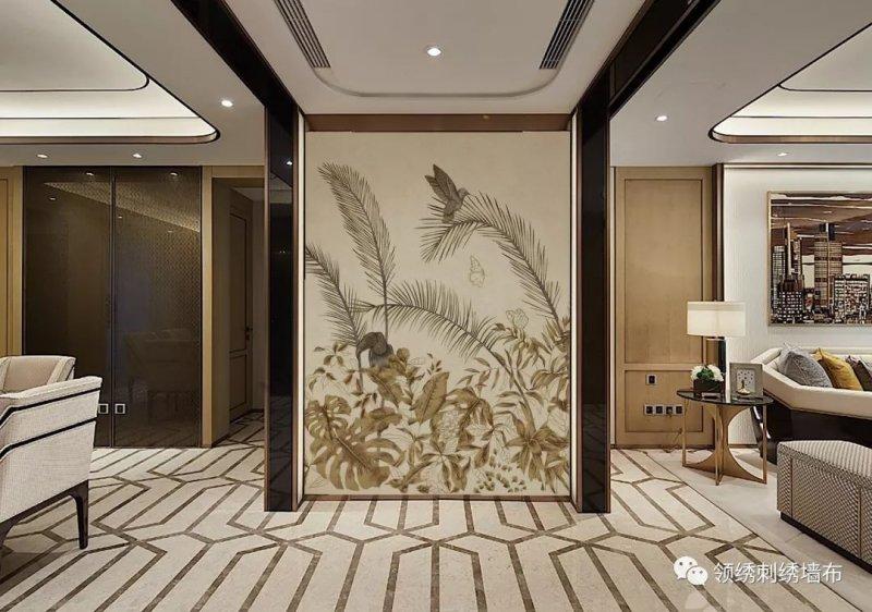 领绣刺绣墙布《锦域鸾歌》 现代风格墙布装修效果图