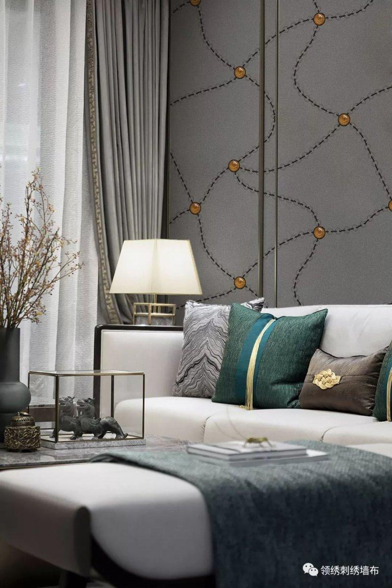 领绣刺绣墙布《熠彩镂金》 轻奢风格墙布装修效果图