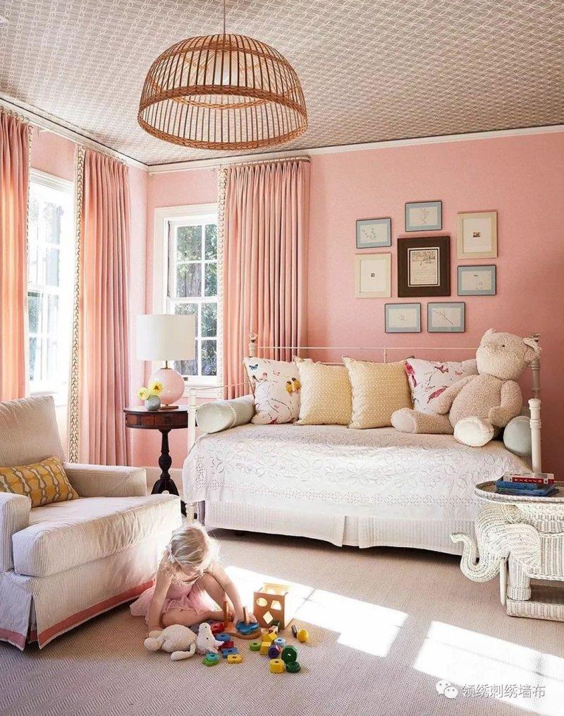 领绣刺绣《领布之尊7》 粉色墙布装修效果图
