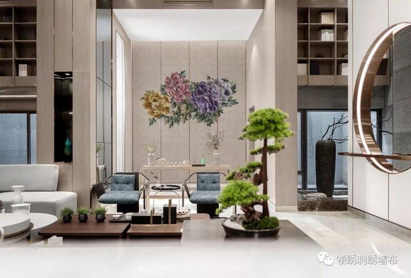 领绣刺绣《国色天香》 新中式风格背景墙装修效果图