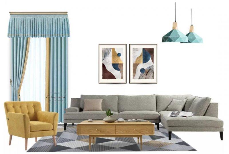 法丽雅墙布加盟产品 素色窗帘装修效果图