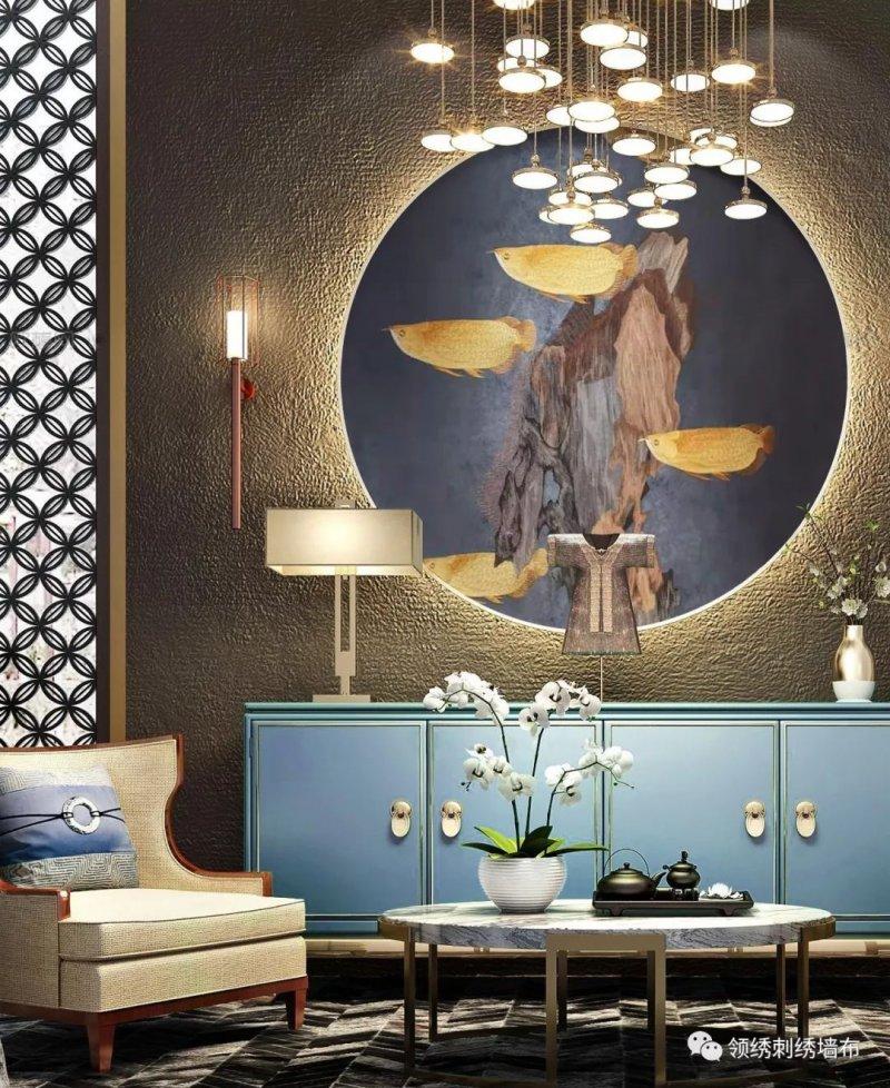 领绣刺绣墙布《金龙方池》 新中式风格墙布装修效果图