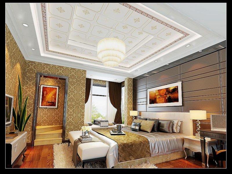 欧陆吊顶 客餐厅吊顶卧室边花+金镶玉效果图