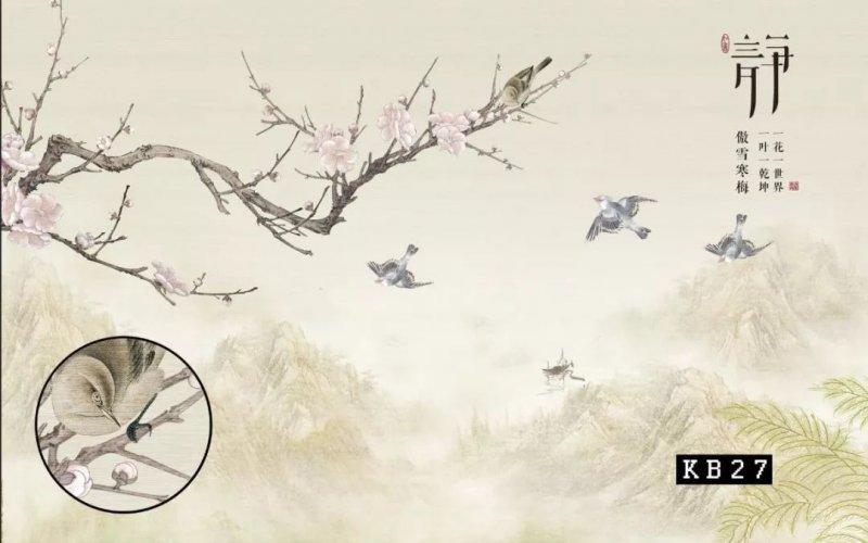 大宇墙布鸟语花香(二)新中式风格背景墙装修效果图