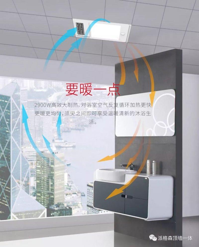 派格森集成吊顶双暖多功能机 浴室取暖器装修效果图