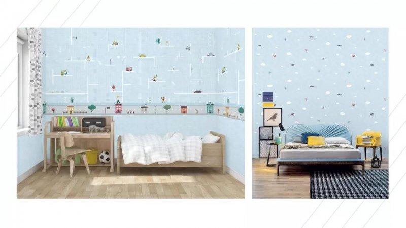 红旗无缝墙布童梦系列 儿童墙布装修效果图