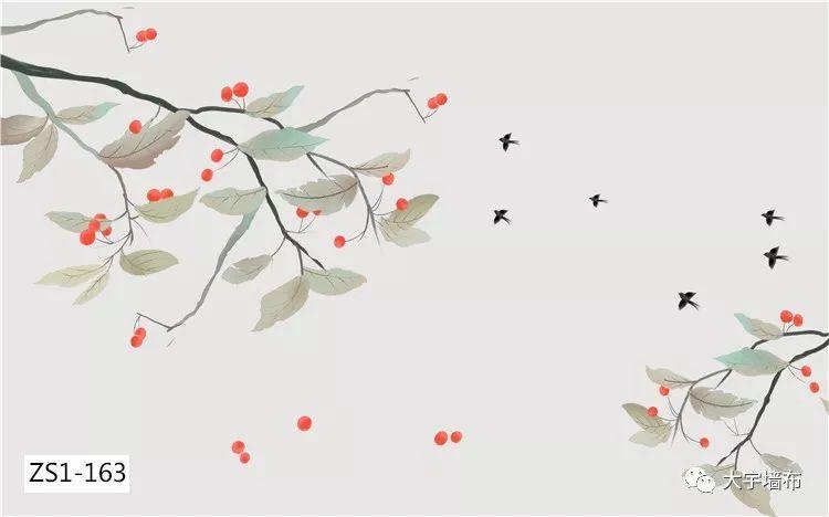 大宇墻布ZS1系列 新中式風格背景墻裝修效果圖