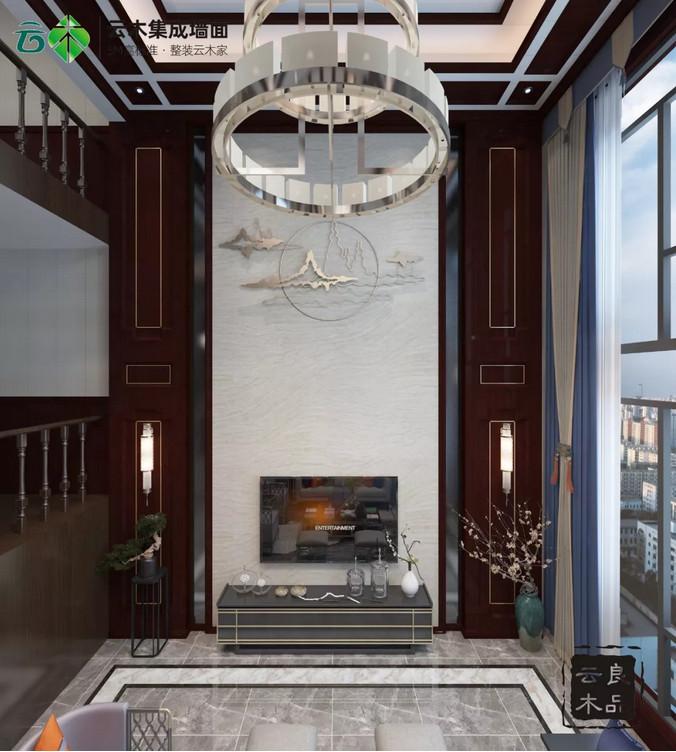 云木集成墙面图片 新中式家居地板装修效果图