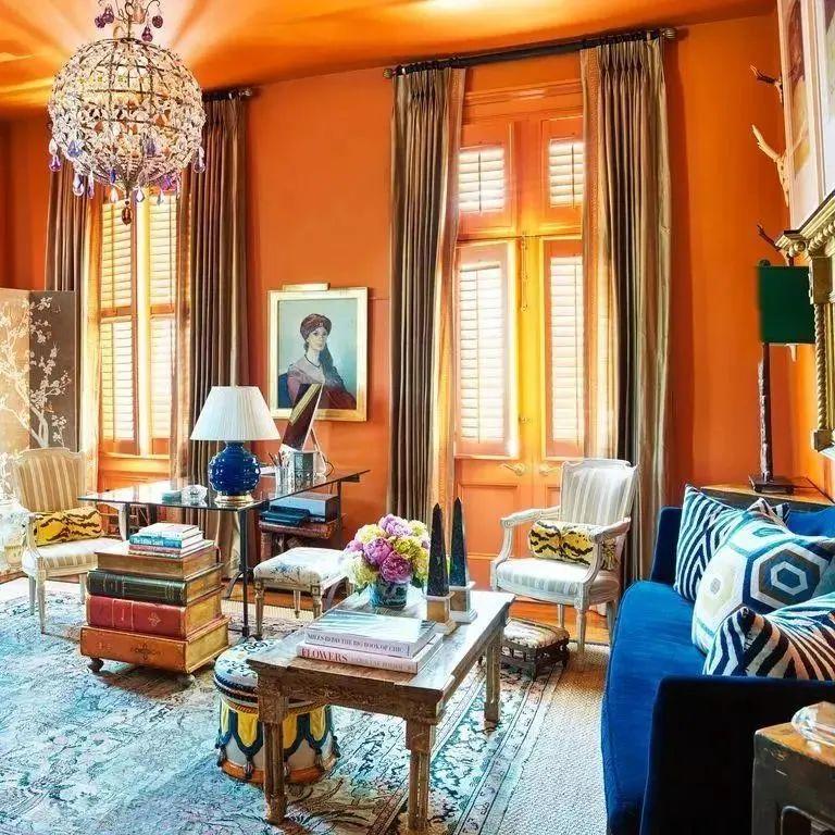 伊卡洛斯窗帘布艺爱马仕橙图片 时尚风格装修效果图