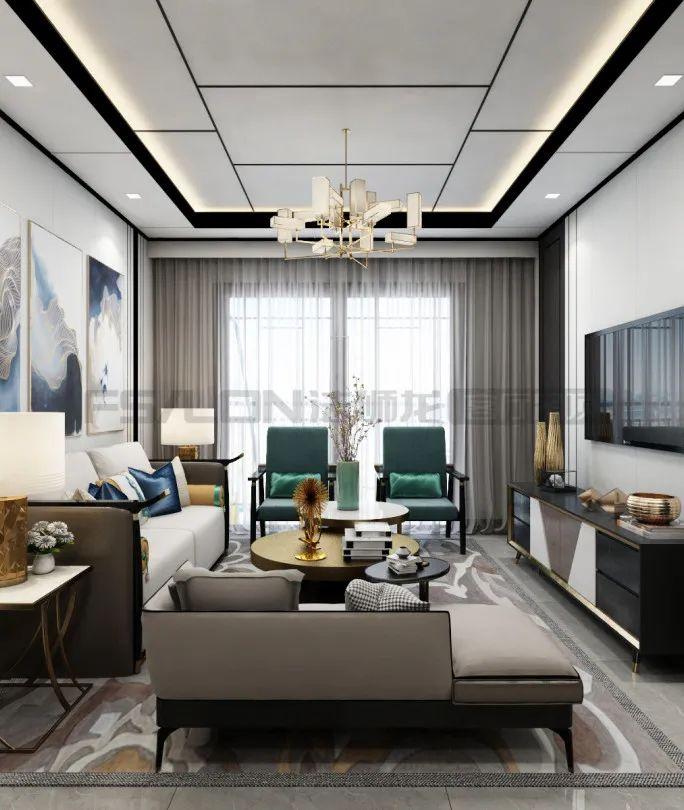 法狮龙客厅吊顶121㎡装修图片 中式风格吊顶效果图_1