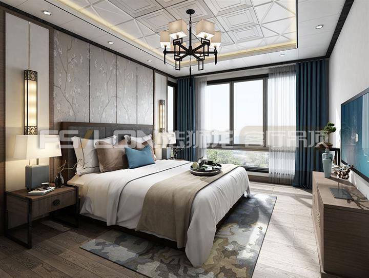 法狮龙集成吊顶图片 新中式卧室装修效果图_1