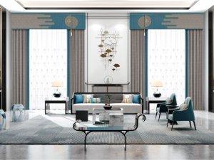 摩尔登窗帘系列图片 新中式窗帘效果图