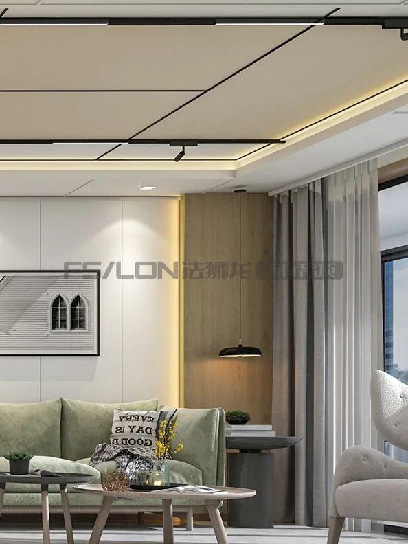 法狮龙客厅吊顶系列图片 北欧轻奢风效果图_7
